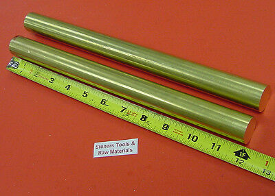 """2 Pieces 1"""" C360 BRASS ROUND ROD 12"""" long Solid Lathe Bar Stock 1.00"""" 1/2 Hard"""