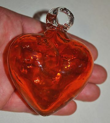 Hand Blown Orange Glass Hanging Heart Ornament Handmade In Mexico