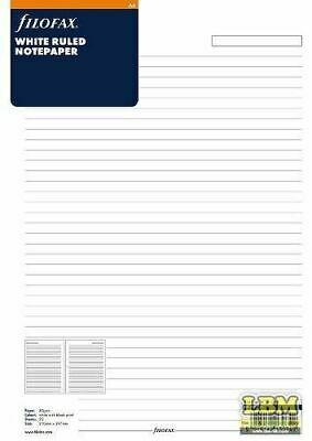 Filofax A4 size White Ruled (Lined) Notepaper Refill Insert 293008