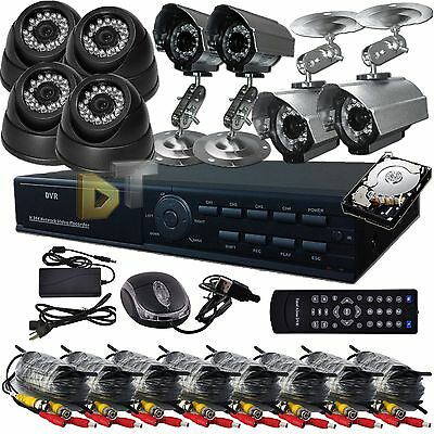DNT Standalone 8 Ch Channel D1 DVR Security Home Video Color Camera system 500GB