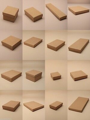 Pack Of 12 Natural Brown Card Gift Jewellery Boxes: Black Insert  Wholesale Bulk