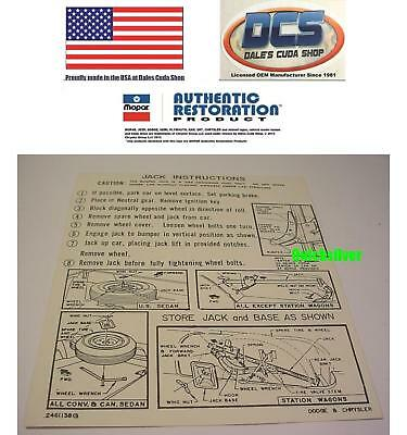 1971 Road Runner GTX Charger R//T Jacking Instructions Trunk Lid Decal 2962720