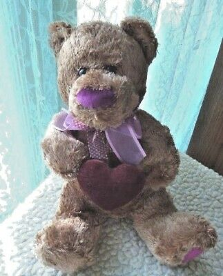 """Brown Teddy Bear plush stuffed with a big red nose 10"""" in sitting position"""