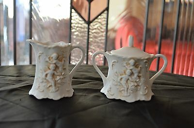 Lefton Small Creamer & Sugar with Cherubs White Cream Color In Good Condition