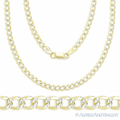 Cuban Curb Sterling Silver 14k Yellow Gold Men's 3.9mm Link Chain Necklace Italy