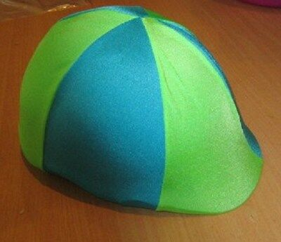Horse Helmet Cover ALL AUSTRALIAN MADE Sky blue & Lime Any size you need