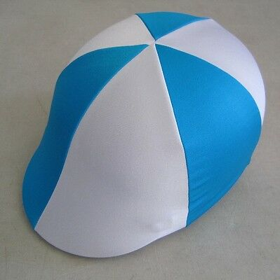 Horse Helmet Cover ALL AUSTRALIAN MADE Sky blue & White Any size you need