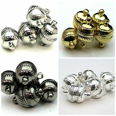 5 Pcs -  13mm Engraved Ball Orb Strong Magnetic Jewellery Clasps Pick Colour ML