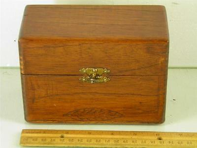 Bayuk Philadelphia Wood Hinged Dove Tail Cigar Box Carved Tobacco Leaf