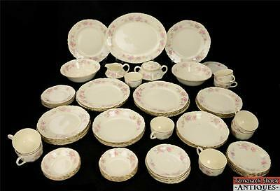 64Pc 1940s Homer Laughlin China Set Platter Dinner Soup Bowls Cups Cream w/Roses