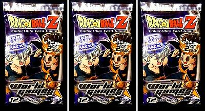 Dragonball Z World Games Saga Limited Score CCG 3 Booster Pack Lot from 2002