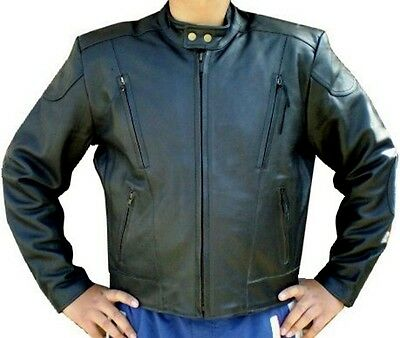 Men's Leather Multiple Use Fashion Casual Vented Motorcycle Jacket New All Sizes