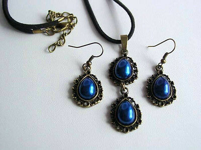 Witches Collection Freya Double Cobalt Drop Blue Necklace Earrings East End