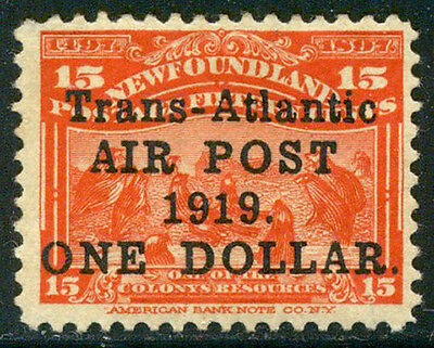 NEWFOUNDLAND #C2a Mint - 1919 $1 on 15c Scarlet, No Comma