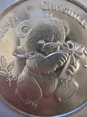 1-Oz.999 Silver 1997 Babys 1St Christmas  Teddy Bear Ornament Gift Box Coin+Gold