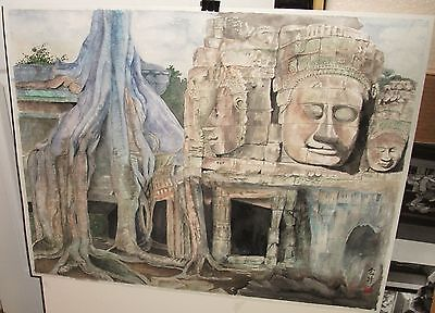 Chinese Carved Rock Tomb Original Watercolor Huge Painting Signed