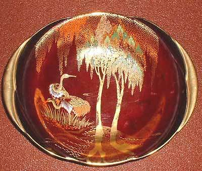 """Carlton ware Rouge Royale Stork pattern dish about 9.8"""" by 8"""", art deco shape."""