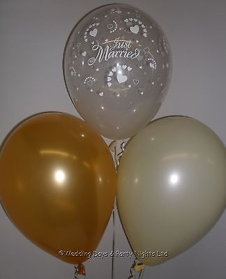 30 Clear Just Married Gold & Ivory Helium or Air Balloons Wedding Decorations