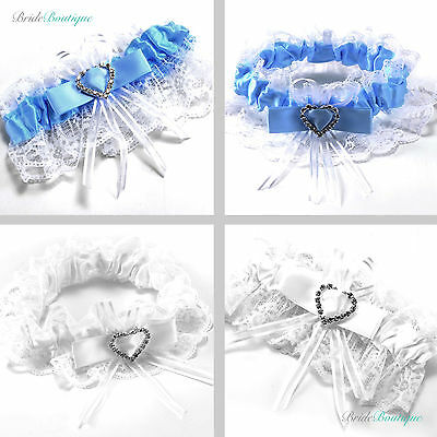 Wedding Hen Party Bride To Be Satin Ribbon Lace Bridal Garter - White / Blue