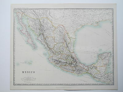 MEXICO CALIFORNIA 1914 Large Map Johnston