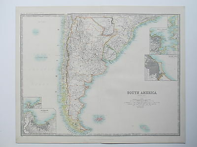 SOUTH AMERICA SOUTHERN CHILE ARGENTINA FALKLAND ISLES 1914 Large Map Johnston