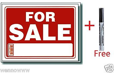 "2 Pcs 9 x 12 Inch Plastic "" For Sale "" Sign with a Free Erasable Marker"