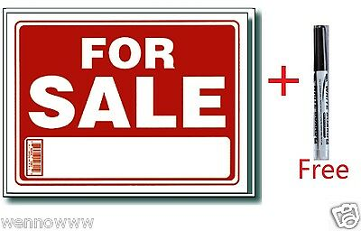 "10 Pcs 9 x 12 Inch Plastic "" For Sale "" Sign with a Free Erasable Marker"