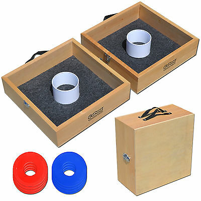 Tailgating Premium Wood Washer Toss Game (2 Washer Boxes + 8 Washers) Lawn Game