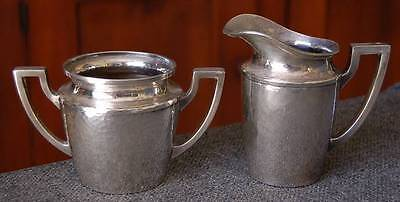Lovely Antique Arts & Crafts Era Hammered Silver Plate Creamer And Sugar