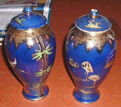 "PAIR OF CARLTON WARE VASES & COVERS 9"" STORK AND BAMBOO  PATTERN 2932 c. 1920s"