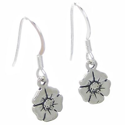 Poppy earrings .925 x 1 pair sterling silver TINY Poppys drops SSELP1774--HOOKS