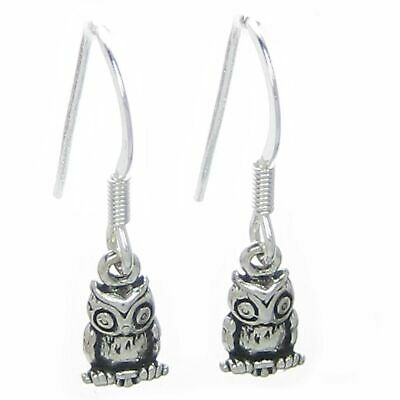 Owl earrings .925 x 1 pair sterling silver TINY Owls drops hooks SSELP510--HOOKS