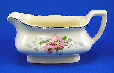 W S George BLOSSOMS Gravy Boat 7 in.Canarytone Pink Flowers Gray Leaves