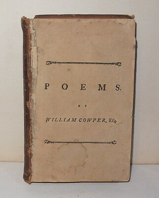 """1787 """"POEMS"""" by William Cowper. Philadelphia published by Thomas Dobson."""