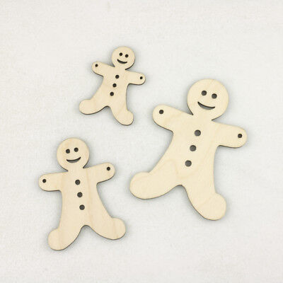 Wooden GINGERBREAD MEN Craft Christmas Decoration Tag Bunting Embellishment