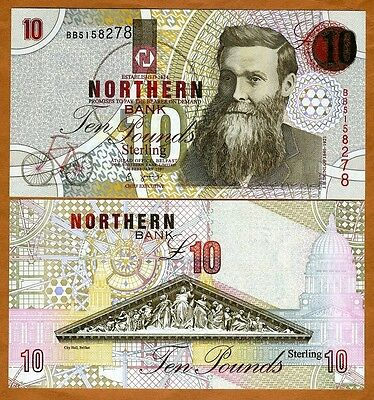 Ireland Northern Bank, 10 pounds, 1997, P-198 (198a), UNC