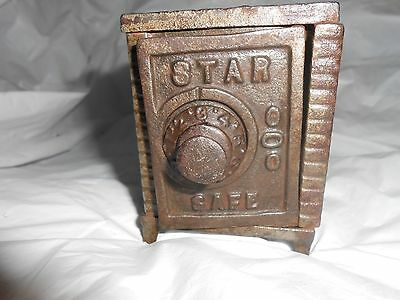 Vintage Antique Toy Combination Cast Iron Safe Star Bank