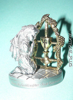 "Cathedral Art Bless My Goddaughter First Communion Pewter Gold-tone 2.5"" Figure"