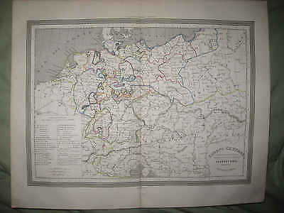 Mint Antique 1852 Central Europe Poland Prussia Germany Austria Handcolored Map