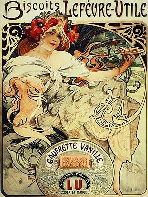 3010.Biscuit Chocolate French POSTER.Art Nouveau Goddess Girl.Room home decor
