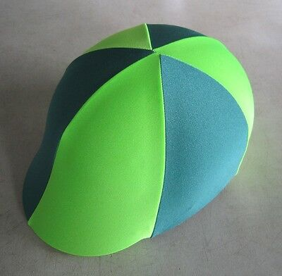Horse Helmet Cover ALL AUSTRALIAN MADE Dark Green & Lime Any size you need