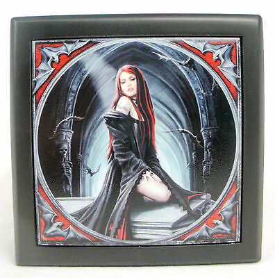 Anne stokes Wooden Keepsake trinket Box  jewelry Gothic Vampire Await the night