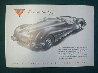 ALVIS SPECIAL SPORTS 14 - Car Specifications Sheet - 1949