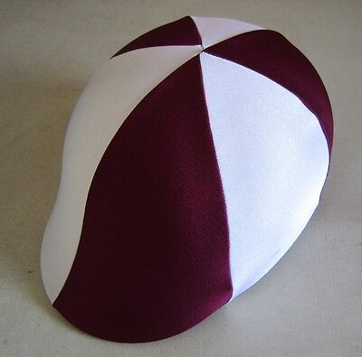 Horse Helmet Cover ALL AUSTRALIAN MADE Burgundy & White Any size you need