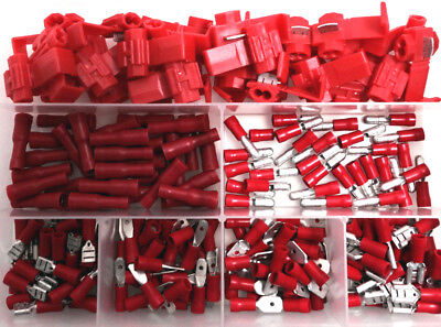 420 Pce Kit - Red Electrical Terminal Connector Female Male Spade Bullet Splice