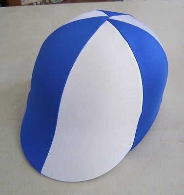 Horse Helmet Cover ALL AUSTRALIAN MADE Royal blue & White Any size you need