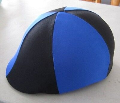 Horse Helmet Cover ALL AUSTRALIAN MADE Royal blue & Black Any size you need