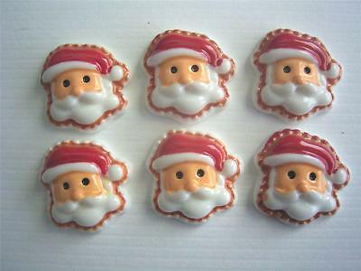 BB FLATBACKS CHRISTMAS SANTA pk of 6 cabochons resin flat back xmas cards craft