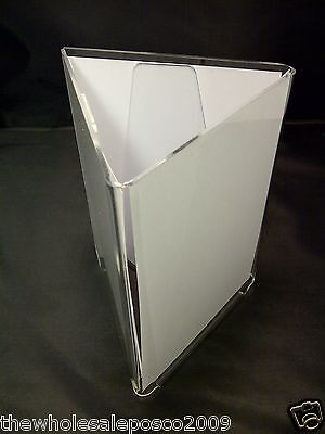 Acrylic 3 Sided A6 Menu Holder Display Table Top Price List Display Stand