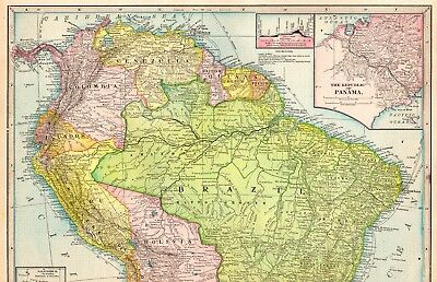 1904 Antique SOUTH AMERICA Map Vintage Atlas Map of South America